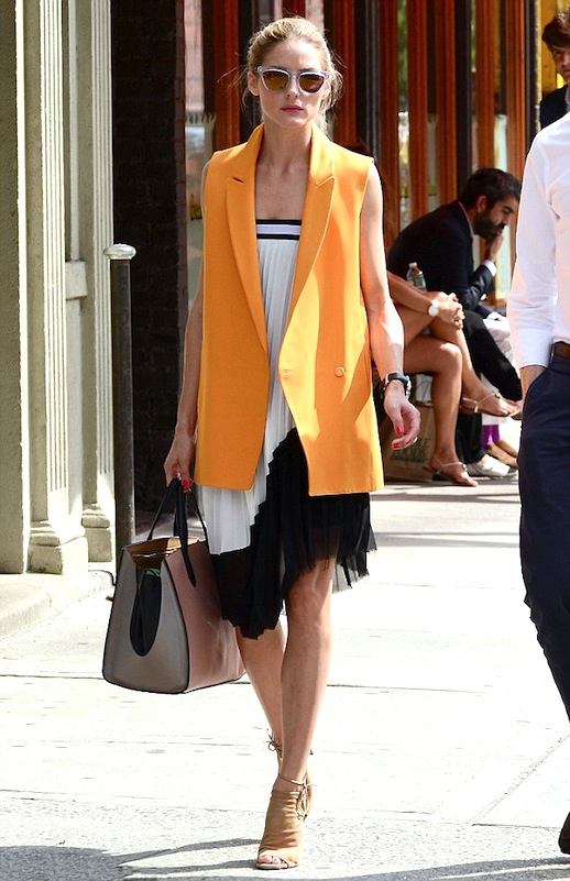 Le-Fashion-Blog-Two-Way-Bright-Summer-Looks-With-Pleated-Details-Olivia-Palermo-Orange-Sleeveless-Blazer